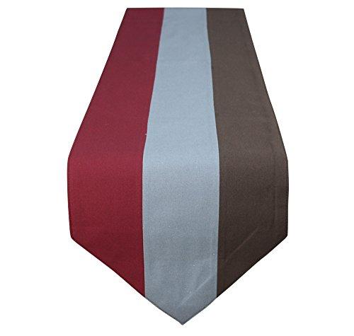 Lovein Aspect lin Nappe en polycoton Nappe de cuisine salle à manger en lin (Gris), Coton/polycoton, Red/Brown/Grey, 33*183cm