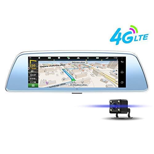 Linbing123 4G 8'Touchscreen wasserdichte Rückfahrkamera 1080P Vorder- und Videostreaming Rückansicht Doppelobjektiv mit Nachtsicht-Zeitraffer-Parküberwachung