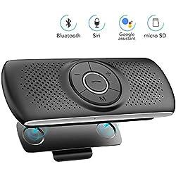 Kit Mains Libres pour Voiture Bluetooth 4.2 Haut-Parleur Micro Intégré avec Clip Support du GPS, Musique Slot Carte TF Allumage Automatique,Enceinte Voiture Brise-Soleil IOS Siri&Assistant Google-Noir
