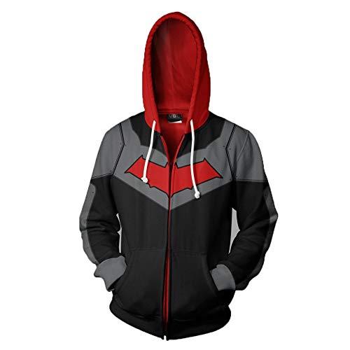 Strickjacken & Sweatshirts Herren 3D-Reißverschlussjacke Bedruckter Cardigan Superheld Nightwing Cosplay-Animation Schwarz L