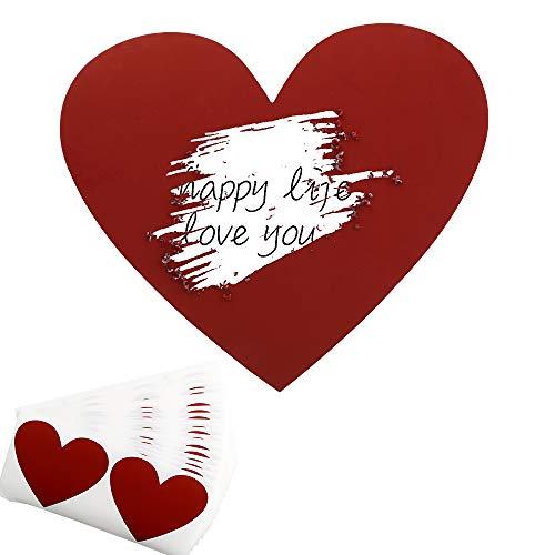 JNCH 50pz Gratta e Vinci Adesivo Etichette Scratch Sticker Cuore per Regalo Biglietto d'Invito Matrimonio Festa Fai da Te Rosso