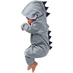 WSLCN Barboteuse Capuche Pyjama Grenouillères Combinaison Déguisement à Capuchon Dinosaure Romper Combinaisons Costumes Bébé Garçon Fille Naissance Enfants Souple Cadeau Noël 0-6 Mois 23-A