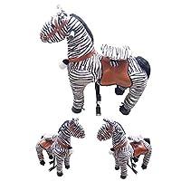 MMRLY Mechanical Horse,Ride on Horse Walking Animal Plushtoy,Wheeled No Battery &Electricity Action Pony Zebra for Kids Birthday
