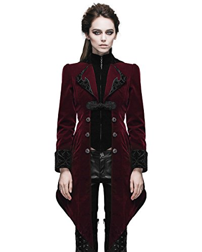 Devil Fashion donna giacca cappotto rosso velluto gotico Steampunk Aristocrat Regency Burgundy Red Small