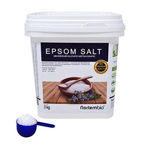 Sal de Epsom NortemBio 3 Kg, Fuente concentrada de Magnesio, Sales 100% Naturales. Baño y Cuidado Personal.