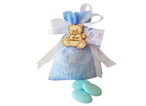 24 sacchetti organza + 24 decorazioni legno battesimo orsetto + nastrino + bigl (celeste)