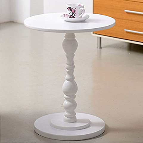 Senweit Dining Round White Coffee Table Solid Wooden Side Lamp Bedside Table Living Room Bedroom