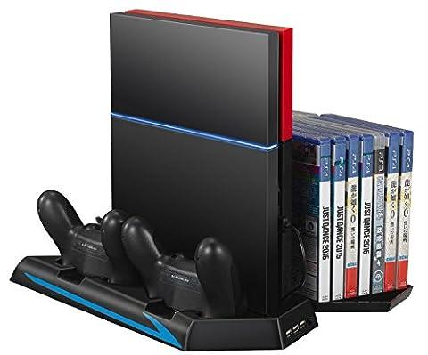 TurnRaise Ladestation mit Lüfter USB für PlayStation 4 PS4 Hub CD Disc DVD Blue Ray Hüllen Stand