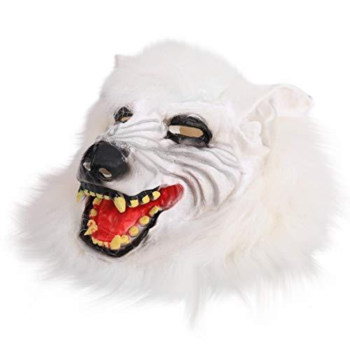 Wolf Weißer Kostüm Maske - Huhu833 Halloween Maske, Neuheit Fantastische Maske Wolf Kopf Maske für Halloween und Cosplay Kostüm Party (Weiß)