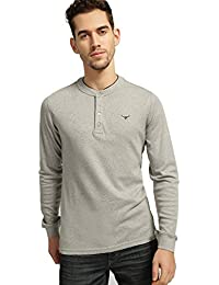BUFFALO by FBB Men's Solid Slim fit T-Shirt (1001920987_Offwhite_M)
