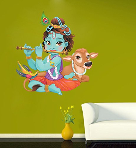 SRG India Lord Krishna Flute Playing With Cow Multicolor Wall Sticker  available at amazon for Rs.219