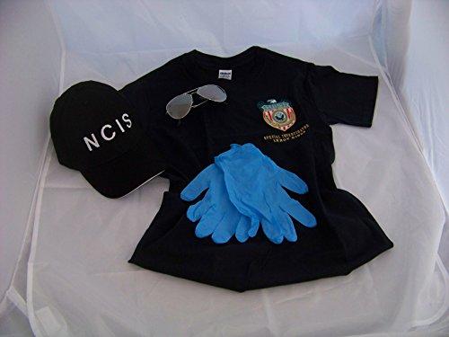 Navy CIS Cap + Gibbs Logo T-Shirt XL + Brille + Handschuhe , NCIS , Kostüm , Fasching , Verkleidung