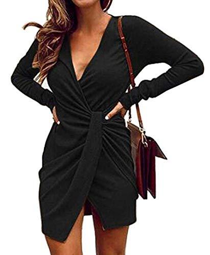 HOYMN Damen Sexy Freizeit Elegant Partykleid Wickelkleider Minikleider Blusenkleider mit Gürtel Rundhals Langarm Einfarbig Frauen Ballkleid Festkleid Cocktailkleid Abendkleider