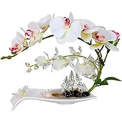 YSYDE Arreglos Florales de orquídeas Artificiales con jarrón de Porcelana Blanca, decoración de Pieza Central de bonsái Artificial, Flores de plástico, realistas realistas, (Blanco como la Leche)