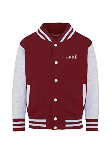 The Evolution of Ska, Kids Varsity Jacket - Burgundy & Heather. Ages up to 13 years