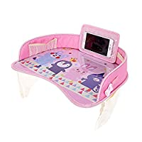 Funmo Travel Tray, Kids Travel Tray Car Seat Activity and Play Tray Baby Car Trays with Touch Screen Transparent Bag for Car/Stroller/Plane (pink)