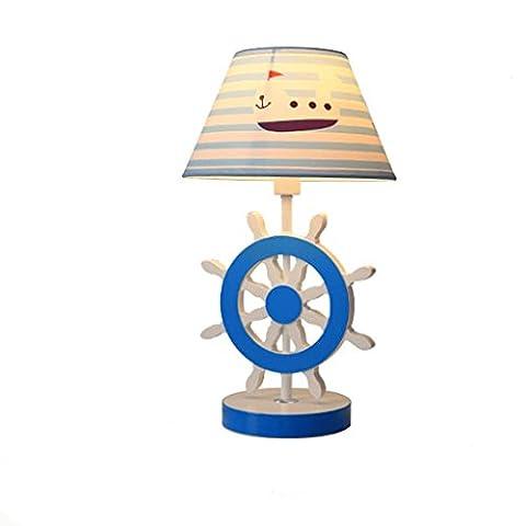 Kindheit Boot Ruder Holz Tisch Lampen Kreativ Kinderzimmer Nachttischlampen Trends Ozean Stil Baumwolle und Leinen Tischleuchten Tischlampe Licht- High 42cm, Breite 25cm, E27