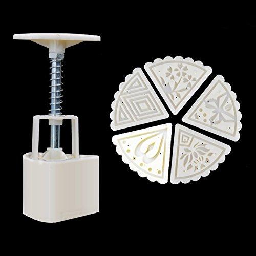 Tocoss (TM) 60g 5piece gateau Lune Carr¨¦ Fleurs Mold Stamp Dessert Maker pression manuelle moule de cuisine Outil bricolage