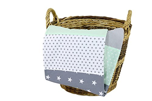 ULLENBOOM Babydecke Mint Grau (70x100 cm Baby Kuscheldecke, ideal als Kinderwagendecke, Spieldecke geeignet, Motiv: Punkte, Sterne, Patchwork)