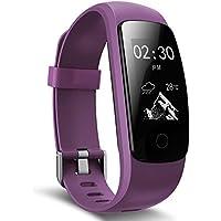 Pulsera Actividad inteligente, Ausun 107 HR Plus Pulsómetro Impermeable IP67, Sueño, Podómetro Monitor de Calorías, GPS para Correr, Guía de Respiración, Bluetooth 4.0 para iOS y Android, morado