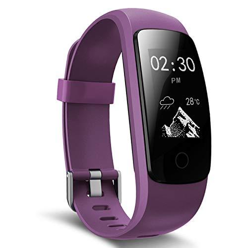 moreFit Slim Touch Wasserdicht Fitness Tracker Mit Herzfrequenz,Smart Fitness Armbanduhr Pulsuhr Schrittzähler,Schwimmen Activity Tracker GPS Für Damen/Herren,Lila