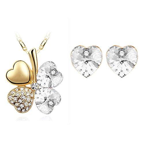 ZIZI a forma di cuore innamorato, quadrifoglio portafortuna, con&-Parure di orecchini e collana con ciondolo a forma di cuore, placcati oro 18 k, con cristalli Swarovski Elements Gold * Dazzling White