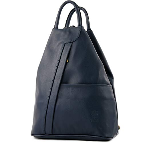 modamoda de - T180 - ital Damen Rucksack Tasche Nappaleder, Farbe:Dunkelblau