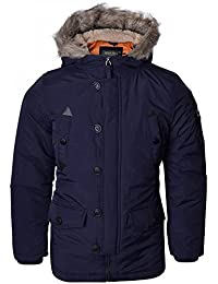 3f11dc7e35d83 Brave Soul Childrens Boys Winter Parka Coat Fur Borg Lined Hood School  Jacket - Black Blue