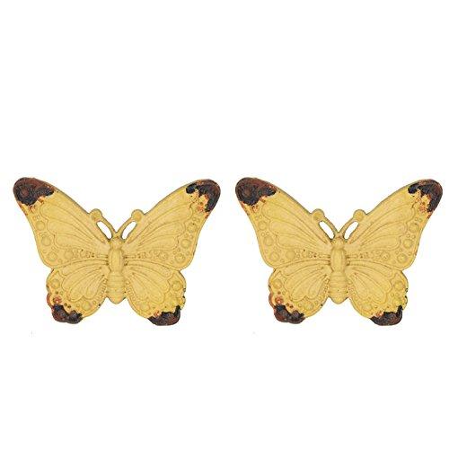 NIKKY HOME 2 Stück Türgriffe aus Griff Schublade zieht Möbel Schrank geformt von Schmetterling Vintage-Stil Dekorative Metall Gelb -