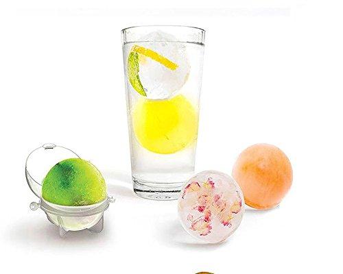 Runde Eiswürfel Ball Maker Kugel Formen für Whisky Party Cocktails Set 4 Geschenk Eisrezepten - Mit Trichter am Stiel für Kinder und -Stieleis schnell selbstgemacht (A)