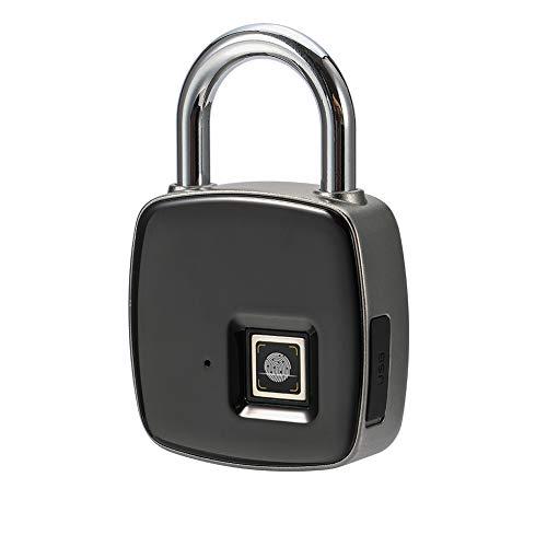 Candado de huellas dactilares, Smart sin llave, impermeable, USB, recargable, apto para puerta de casa...