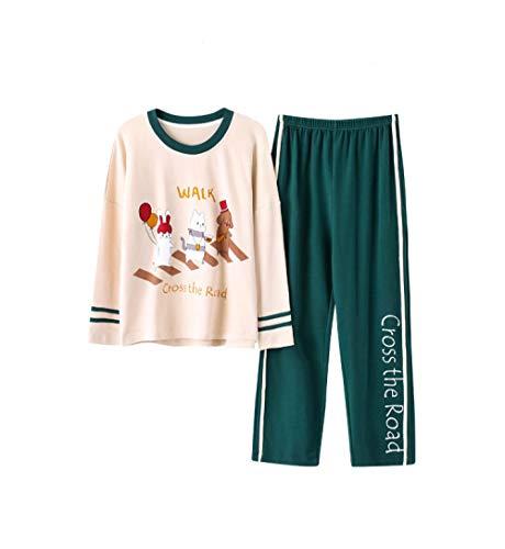 Pigiami due pezzi,pigiama donna cotone anime pigiami set pigiama rosa manica lunga verde pantaloni da notte moda casual servizio a domicilio xl