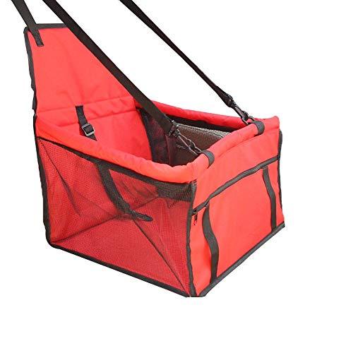 Booster Seat Pet Car Seat Carrier Protector Tragbare faltbare Träger mit Sicherheitsgurt Speicherpaket Hund Pet Mat Scratch Pad Wasserdicht Candtong (Farbe : Rot) (Pet-booster Träger)