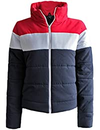 Candy Floss New Womens Padded Stripe Padded Puffer Ladies Zip Quilted Bubble Jacket Coat Top