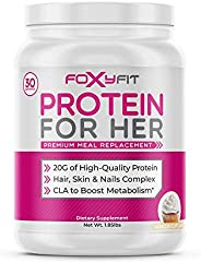 FoxyFit Protein for Her, Healthy Nutritional Shake for Women with Whey Protein, CLA for Fat Loss and Biotin fo