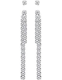 Swarovski Damen-Durchzieh Ohrringe Platiniert Kristall transparent Rundschliff-5224174