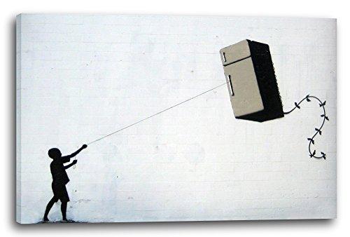 Printed Paintings Leinwand (120x80cm): Banksy - Junge Macht Fridge (Kühlschrank) Kite Street Art