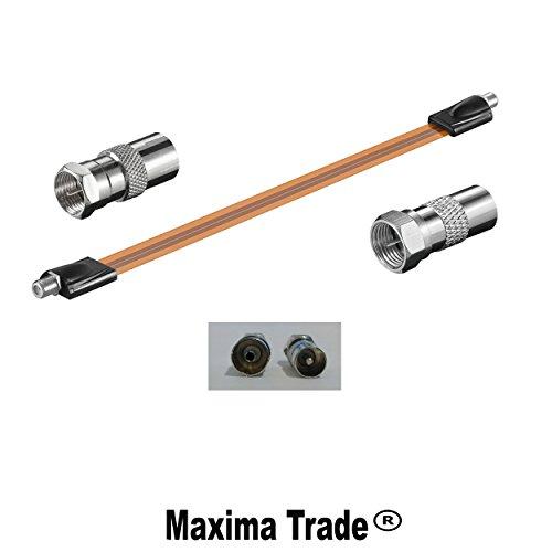 Maxima Trade Set Fensterdurchführung extrem flach + 1x Koax Stecker + 1x Koaxial Buchse beide Adapter auf F Stecker - flach TV HD HDTV 3D 100/200Hz Antennen Kabel Set 3 teilig Tür-Rahmen-Durchführung. (200 Tv-antenne)
