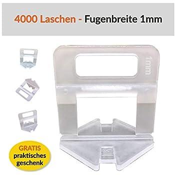 1 mm Aide Levello /à la pose de pavage et de carrelage pour /épaisseur de 3 /à 12 mm 1000 Clips Syst/ème de nivellement pour largeur de joint 1-3 mm