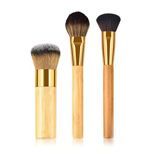 WESEEDOO 3 pièces Set de pinceaux de Maquillage pour Le Visage Rond Fondation Correcteur Mélange Pinceau à Poudre Poil Dense synthétique Pinceau Blush