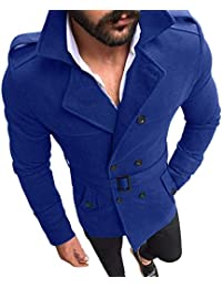 BUSIM Men's Long Sleeve Jacket Autumn Winter Slim Solid Color Button Belt Windbreaker Jacket Suit Half Cardigan...