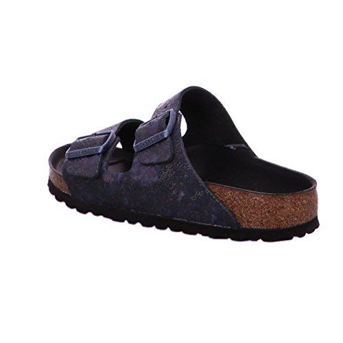 Birkenstock - Arizona Birko-flor, Pantofole Donna Nero metallizzato