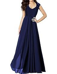 Miusol® Damen Sommer V-Ausschnitt Spitzen Brautjungfer Cocktailkleid Chiffon Faltenrock Langes Abendkleid Schwarz Größe 36-50