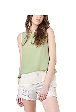 The Chic Fair Women Two Tone Layered Pear Green Top