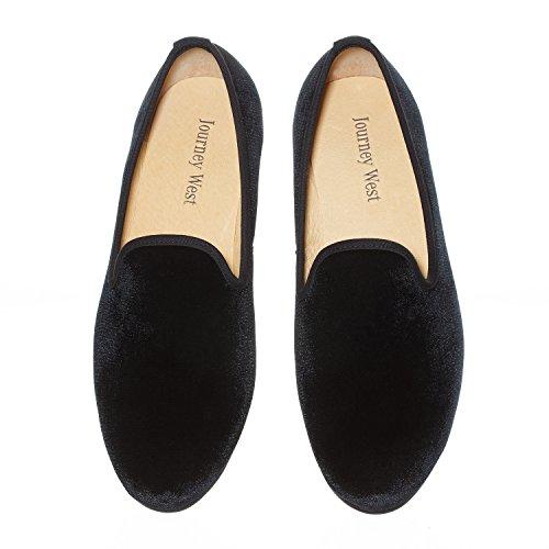 Journey West Herren Vintage Schuhe Samt Slipper Herren Herren Schuhe-Slipper Smoking Slipper Mokassins Herren Schuhe Loafers Herren Schwarz Größe: 43