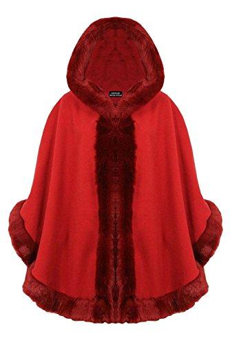 Celeb Look - R29 Damen Poncho Cape Kunstpelz Kapuze In Übergrößen - Einheitsgröße (EU 36-42), Rot (Rotes Kapuzen Cape)