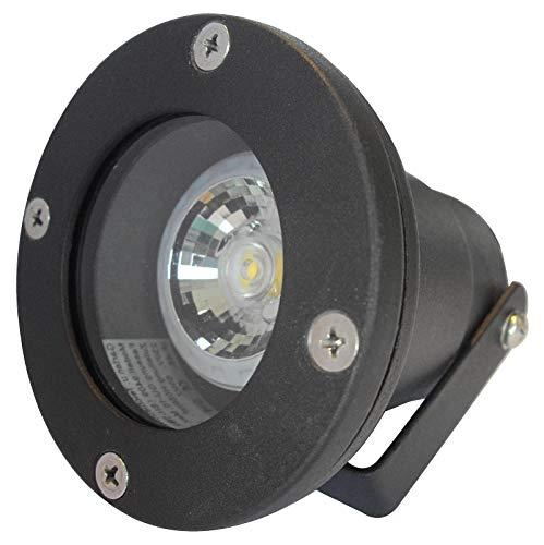 7 Stück IP68 MCOB LED Boden Einbaustrahler Sophie Schwarz 230 Volt 5 Watt Lichtfarbe Warmweiß