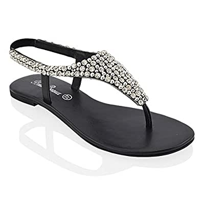 LADIES FLAT DIAMANTE TOE POST WOMENS PEARL HOLIDAY DRESSY PARTY SANDALS SIZE 3-8 (UK 3 / EU 36, BLACK)