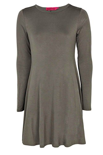 Khaki April Langärmeliges, Ausgestelltes Kleid Mit Weitem Rundhalsausschnitt Khaki