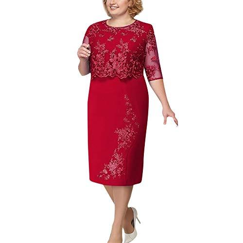 Kleid Größe Diagramm (Damen Mode Spitze Elegante Mutter der Braut Kleid Knielangen Plus Size Kleid Zolimx)